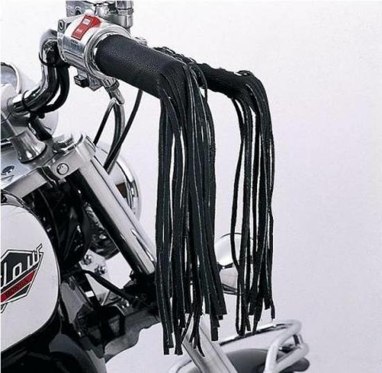 Obrázek z DIABLO MOTO Kožené třásně na páčky a řidítka set