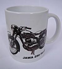 Obrázek z HRNEK s motorkářským motivem - různé druhy JAWA 250 Pérák