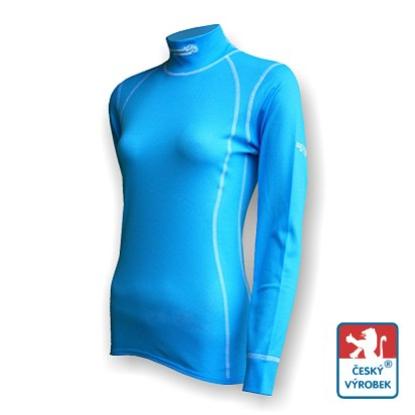 Obrázek Dámské triko dlouhý rukáv-stoják sv.modrá/bílá Smart Ag
