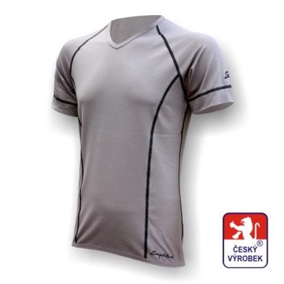 """Obrázek Pánské triko krátký rukáv """"V"""" šedá Silver Tech"""