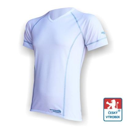 """Obrázek Pánské triko krátký rukáv """"V"""" bílá/šedá Silver Tech"""