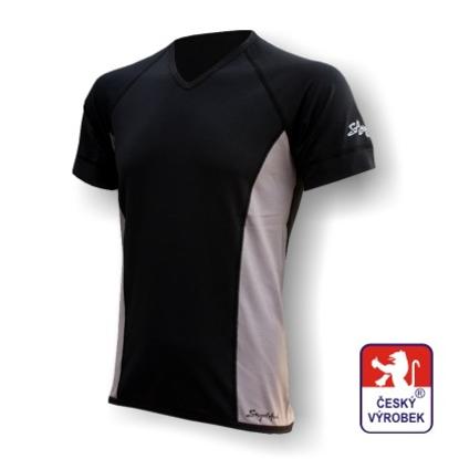"Obrázek Pánské triko krátký rukáv ""V"" černá/šedá Silver Tech"