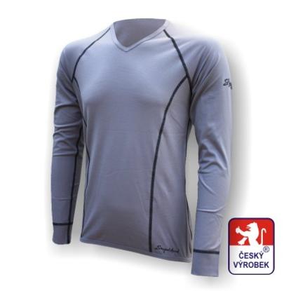 """Obrázek Pánské triko dlouhý rukáv """"V"""" šedá Silver Tech"""
