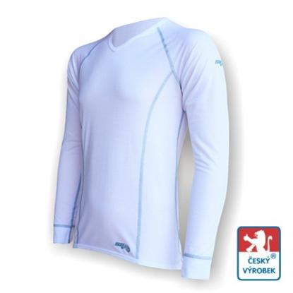 """Obrázek Pánské triko dlouhý rukáv  """"V"""" bílá/šedá Silver Tech"""