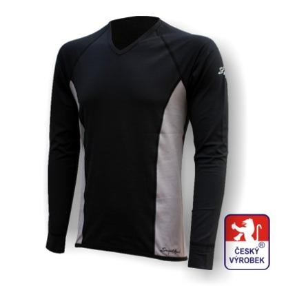 "Obrázek Pánské triko dlouhý rukáv  ""V"" černá/šedá Silver Tech"