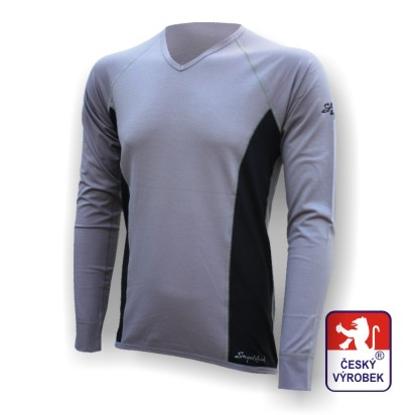 "Obrázek Pánské triko dlouhý rukáv ""V"" šedá/černá Silver Tech"