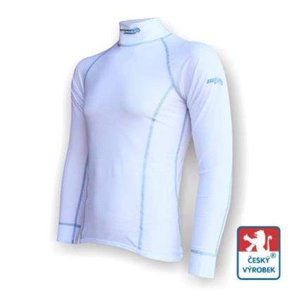 Obrázek Pánské triko dlouhý rukáv-stoják bílá/šedá Silver Tech