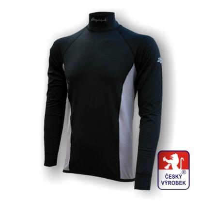 Obrázek Pánské triko dlouhý rukáv-stoják černá/šedá Silver Tech