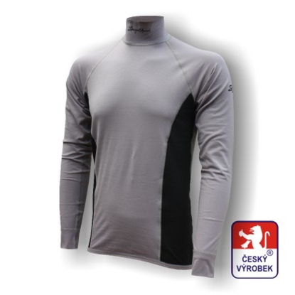 Obrázek Pánské triko dlouhý rukáv-stoják šedá/černá Silver Tech