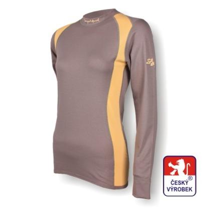 Obrázek Dámské triko dlouhý rukáv šedá/béžová SilverTech