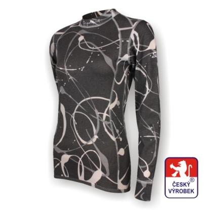 Obrázek Dámské triko dlouhý rukáv potisk černá SilverTech