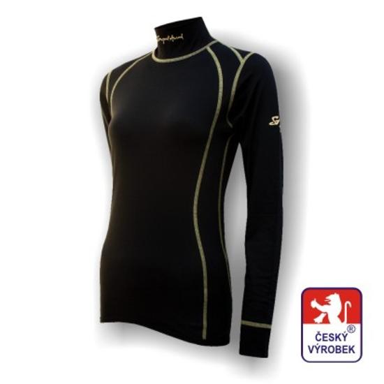 Obrázek z Dámské triko dlouhý rukáv-stoják černá SilverTech