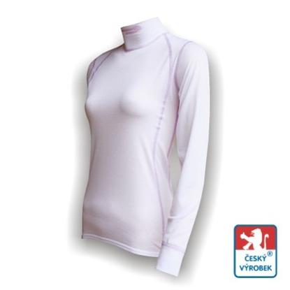 Obrázek Dámské triko dlouhý rukáv-stoják bílá/fialová SilverTech