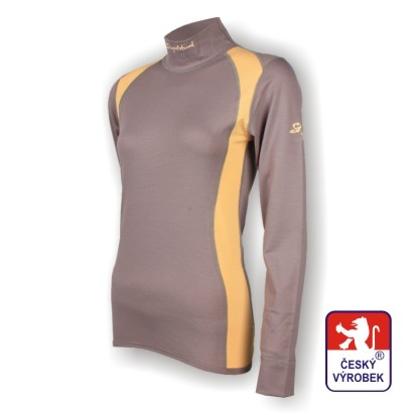Obrázek Dámské triko dlouhý rukáv-stoják šedá/béžová SilverTech