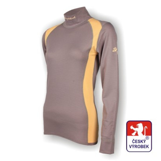 Obrázek z Dámské triko dlouhý rukáv-stoják šedá/béžová SilverTech