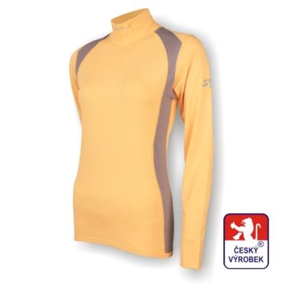 Obrázek Dámské triko dlouhý rukáv-stoják béžová/šedá SilverTech