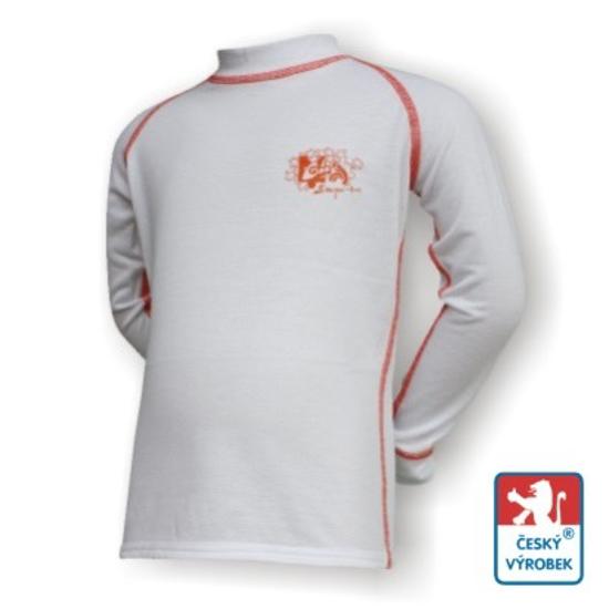 Obrázek z Dětské triko dlouhý rukáv bílá/oranžová SilverTech