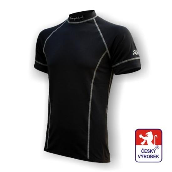 Obrázek z Pánské triko krátký rukáv černá/šedá BambooLight