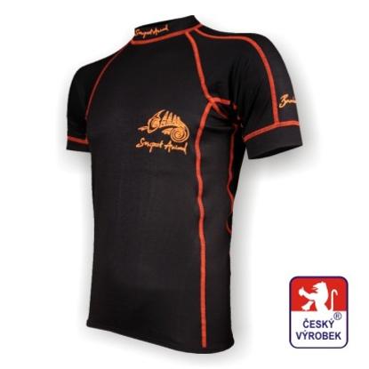 Obrázek Pánské triko krátký rukáv černá/oranžová BambooLight