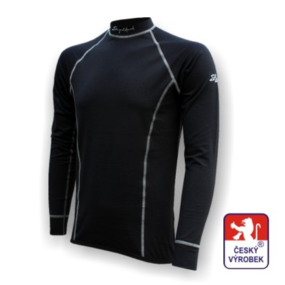Obrázek Pánské triko dlouhý rukáv černá/šedá BambooLight