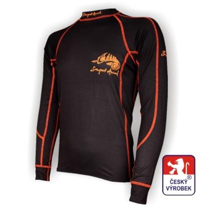 Obrázek Pánské triko dlouhý rukáv černá/oranžová BambooLight