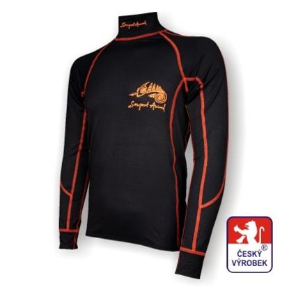 Obrázek Pánské triko dlouhý rukáv-stoják černá/oranžová BambooLight