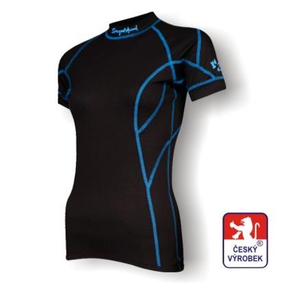 Obrázek Dámské triko krátký rukáv černá/modrá BambooLight