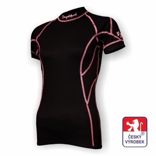 Obrázek z Dámské triko krátký rukáv černá/růžová BambooLight