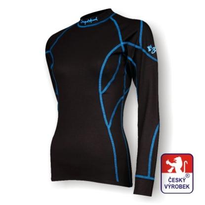 Obrázek Dámské triko dlouhý rukáv černá/modrá BambooLight