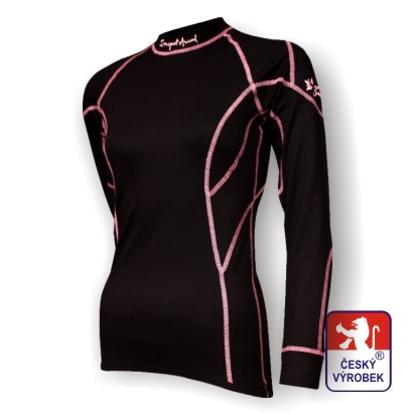 Obrázek Dámské triko dlouhý rukáv černá/růžová BambooLight
