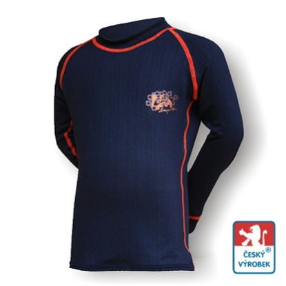 Obrázek Dětské triko dlouhý rukáv černá/oranžová BambooLight