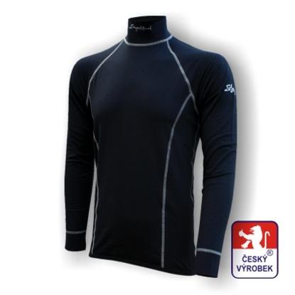 Obrázek Pánské triko dlouhý rukáv-stoják se zipem černá/šedá BambooHeavy