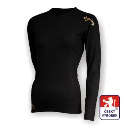 Obrázek Dámské triko dlouhý rukáv černá/zlatá BambooHeavy