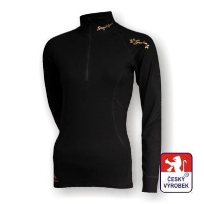 Obrázek Dámské triko dlouhý rukáv-stoják se zipem černá/zlatá BambooHeavy