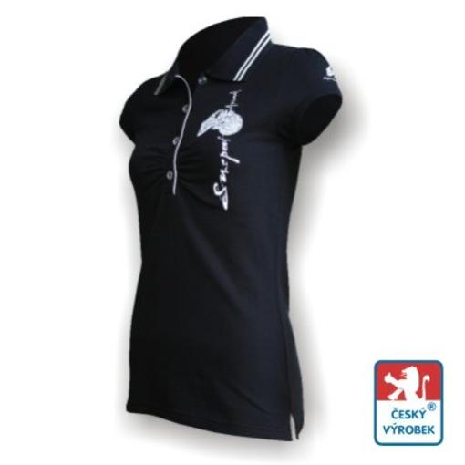 Obrázek z Dámské polo krátký rukáv černá/bílá Bavlna