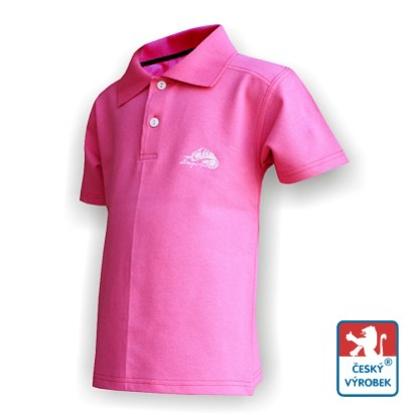 Obrázek Dětské polo krátký rukáv růžová/bílá Bavlna