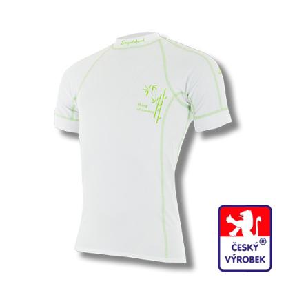 Obrázek Pánské triko krátký rukáv bílá/zelená BambooLight