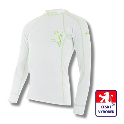 Obrázek Pánské triko dlouhý rukáv bílá/zelená BambooLight
