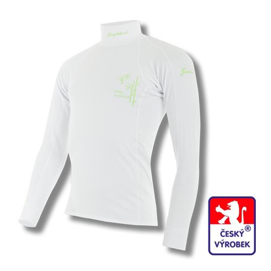 Obrázek z Pánské triko dlouhý rukáv-stoják bílá BambooLight