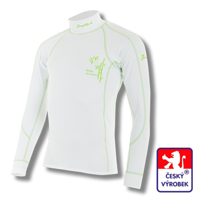 Obrázek Pánské triko dlouhý rukáv-stoják bílá/zelená BambooLight