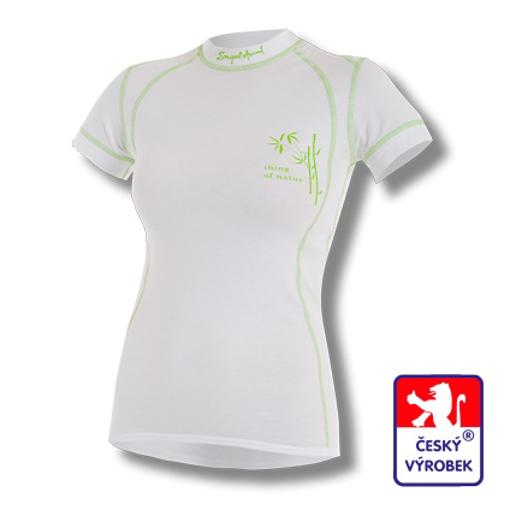 Obrázek z Dámské triko krátký rukáv bílá/zelená BambooLight