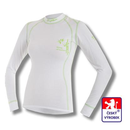 Obrázek Dámské triko dlouhý rukáv bílá/zelená BambooLight