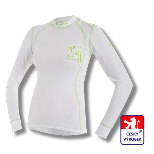 Obrázek z Dámské triko dlouhý rukáv bílá/zelená BambooLight