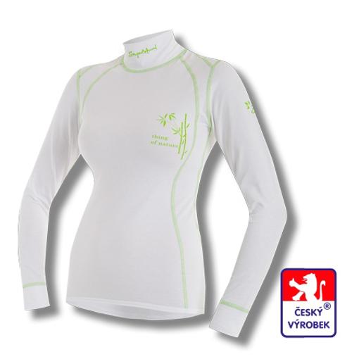 Obrázek z Dámské triko dlouhý rukáv-stoják bílá/zelená BambooLight