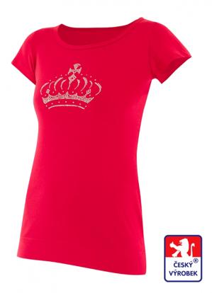 Obrázek Dámské prodloužené designové tričko Crown červené - bavlna