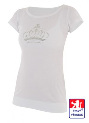 Obrázek Dámské prodloužené designové tričko Crown bílé - bambus