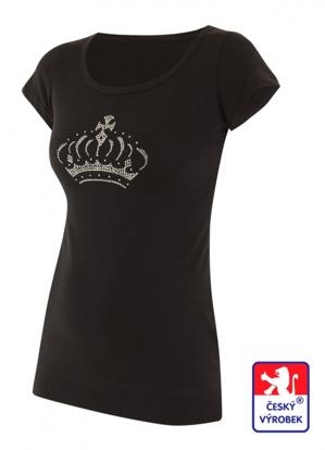 Obrázek Dámské prodloužené designové tričko Crown černé - bambus