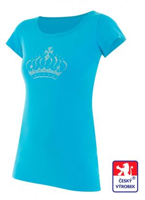 Obrázek Dámské prodloužené designové tričko Crown azurově modré - bavlna
