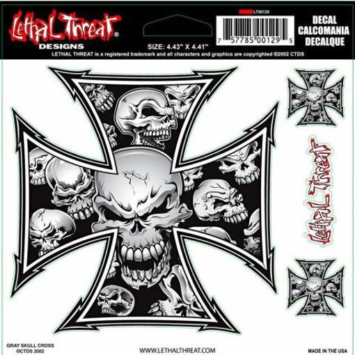 Obrázek z Samolepky Grey Skull Cross na motorku