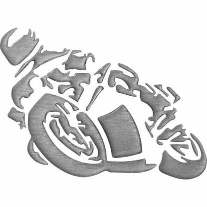 Obrázek Samolepka motorkář pro označení vozidla stříbrná